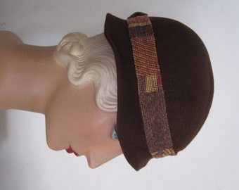 CLEARANCE SALE - Felicity - 1930's Brown Wool Cloche Fedora Hat with Art Deco Trim