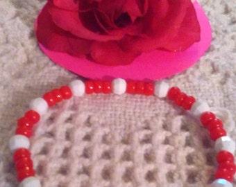 Valentines Day Bracelet Red White Beads Stretch