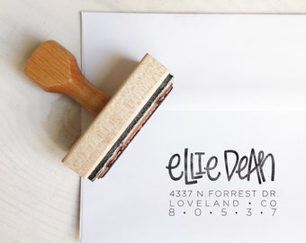 Custom Handlettered Stamp // One Name Return Address // Handlettered Wood Stamp