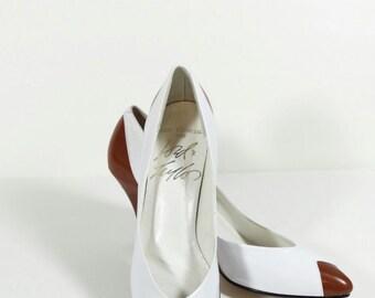 Lord & Taylor Spectator Pumps - 8.5 N - Vintage Heels Vintage Pumps Brown and White Spectator Heels Vintage High Heels Pinup Never Worn