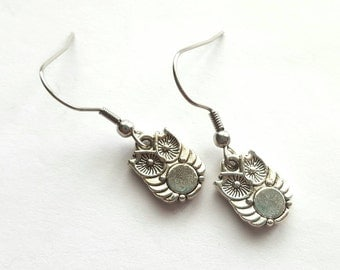 Owl Earrings with Stainless Steel Earwires - Tibetan Silver - bird