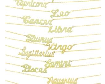 Script Zodiac Astrological Sign Necklace