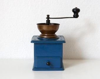 Medium Vintage Blue Painted Wooden Coffee Grinder with Copper Metal Coloured Top