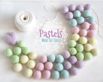 Felt Balls - Pastel Bundle Felt Balls - 100% Wool Felt Balls - (18 - 20 mm) - Easter Felt Balls - 2cm Pom Poms - DIY Easter Garland - Poms