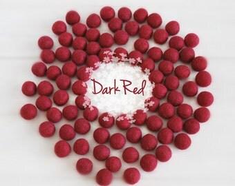 Wool Felt Balls - Size, Approx. 2CM - (18 - 20mm) - 25 Felt Balls Pack - Color Dark Red-4080 - 2CM Felt Balls - Dark Red Felt Balls - Red