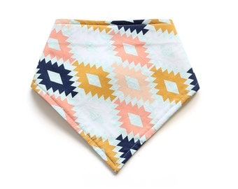 SALE || Bandana Bib || Aztec Fall || Fleece Backing