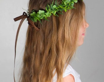 Greenery Wreath Hair Crown - Bridal Floral Halo - Hair Wreath - Bridesmaid or Festival Flower Crown of vine and white flowers -  WILLOW
