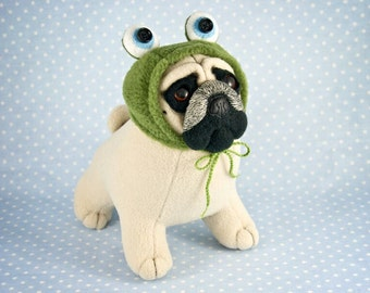 OOAK Fawn Pug in a Frog Hat, handmade soft art toy