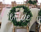 "BRIDE Chair Sign, Wedding Signs, Bride Sign, Chair Signs, 20"" wide, UNFINISHED"