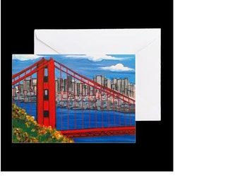 San Francisco Golden Gate Bridge #1 - 4 Greeting Cards By Artist A.V.Apostle