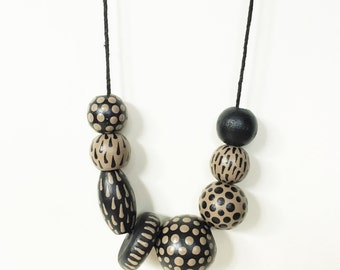 Riverbed Necklace - Black and Tan Hand Painted Dot Jewelry - Clay-Colored Earth Tone Beads Taupe Accessories