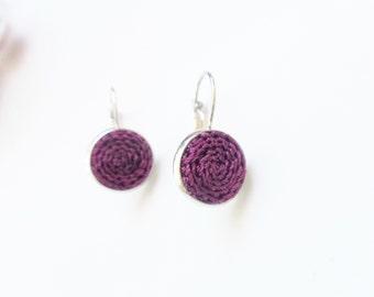 Dark purple leverback earrings, elegant purple jewelry, crochet leverback earring, circle earrings with crocheted elements, gift for her