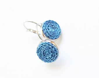 Aegean blue Leverback earrings, earring with crocheted circle, Aegean blue jewelry, circle blue earrings, blue jewelry
