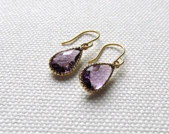 Purple Skinny Earrings Faceted Gold Minimal Earrings Purple Drop Dangle Crystal Dainty Modern Simple