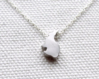 Silver Tiny Bunny Necklace Cute Rabbit Dainty Sterling Silver Necklace Modern Animal Jewelry