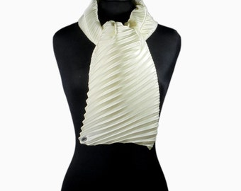 White ivory scarf pleated in fine satin - Italian fashion