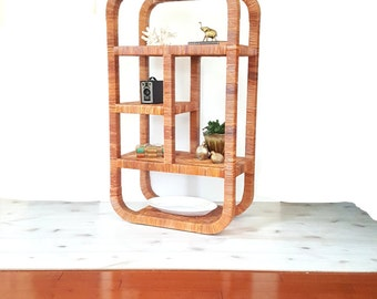 SOLD Wrapped Rattan Etagere after Milo Baughman or Franco Albini ~ Vintage Mid Century Bookshelf / Bookcase / Bookshelves