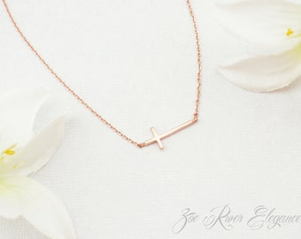 Rose gold or silver or gold sideways cross necklace. Rose gold cross necklace. Dainty cross necklace