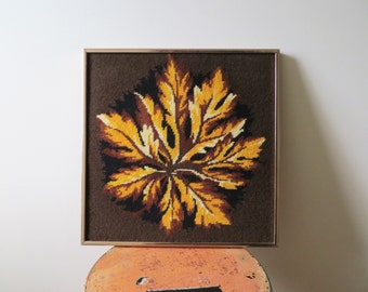 Vintage 60s Needlepoint Wall Art Colorful FALL LEAF Chestnut Yellow Brown