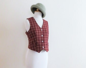 80s FANCY Plaid Vest, Burgundy Brick Red Wool, Button Up, Women US Size Small