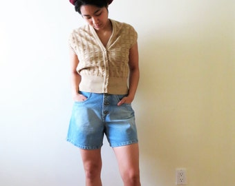 80s Jaeger Angora Vest, Made in Great Britain, Beige Tan Textured Wool, Women US Size Small to Medium
