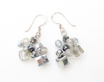 Silver gray crystal earrings with stone, hematite on silk thread, sterling silver ear wires, dangle earring, cube crystal