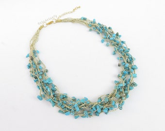 Blue stone necklace on gold silk thread, chunky necklace, blue necklace, howlite turquoise, blue stone necklace