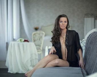 Ready to ship (M) 10065 Sexy black peignoir (sexy lingerie, erotic lingerie, shirt, bridal, wear, honeymoon, nightgown, gift, girl)