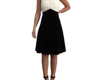 Black and White Velvet Mini Dress/ Black Velvet/ White Sequin/ Sequin Dress/ Mini Dress/ LBD/ Party Dress/ Vintage/ Designer Dress
