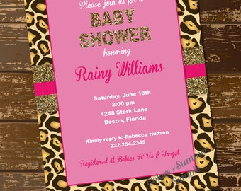 leopard baby shower invitation  etsy, Baby shower invitations