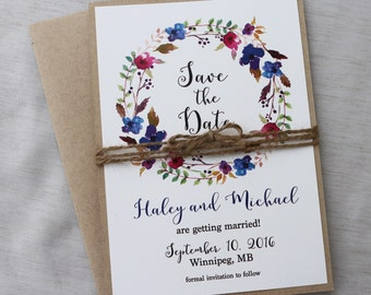 Bohemian Floral Save the Date, Rustic save the date card, Save our Date, Boho  wedding, Wedding Card, engagement card