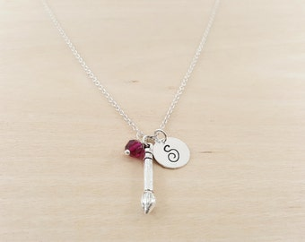 Artist Paintbrush Charm Necklace - Painter Necklace - Birthstone Necklace - Personalized Gift - Initial Necklace - Sterling Silver Jewelry