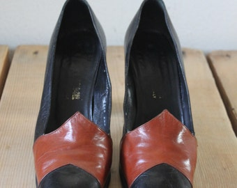 Vintage 1970s Maxime Retro Black And Brown Leather Heels