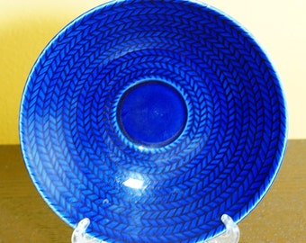Mid Century Rorstrand Sweden Hertha Bengtson BLA ELD Blue Fire Saucers