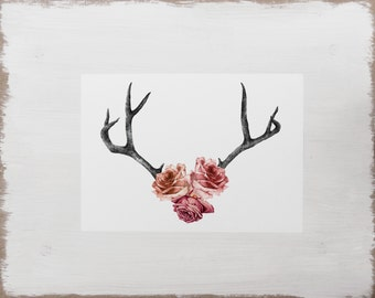 Stag Antler Print -- Floral Rose Watercolour Flower Illustration // Limited Edition Romantic Art