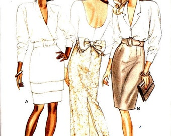 Semi Fitted Tapered Skirts Belt Pattern Easy to Sew Three Lengths Size 8 10 12 Vintage 80's Butterick 6978 Sewing Pattern Uncut FFolds