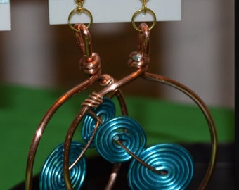 Handmade Blue and Copper wire earrings
