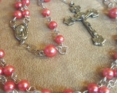 Five Decade Coral Pearl and Silver Chain Rosary Free Domestic Shipping