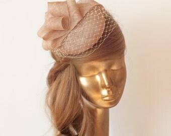 LATTE FASCINATOR. Sinamay Bridal Fascinator with Veil . Derby Mini Hat