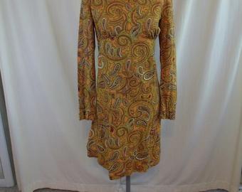 Vintage 60s Yellow Paisley Orange Cotton Hippie Dress XS