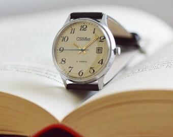 Rare men's watch SLAVA (GLORY) with date calendar vintage wrist watch 60s