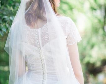 Draped veil, bohemian wedding veil, boho bridal headpiece, heirloom wedding,  English net soft veil, +sizes, colors ivory white Style 816