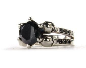 Skull Engagement Ring, Skull Wedding Ring, Diamond Skull Ring, Goth Rock n Roll Wedding Ring, Memento Mori Ring, Womens Skull Ring Celebrity