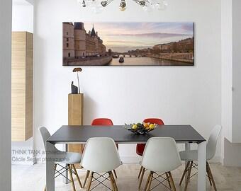 Paris photography, Paris bedroom decor with La Seine and La Conciergerie in canvas art/skyline personalized art/large wall art Paris sunset