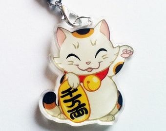 Chibi Maneki Neko (beckoning cat) Clear Acrylic Charms with Phone Strap