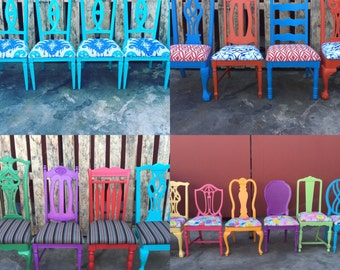 Dining Chairs,Custom,Upholstered Chairs, FREE SHIPPING, Vintage chairs, Farmhouse Chairs, Spindle Chairs,Painted chairs, Los Angeles