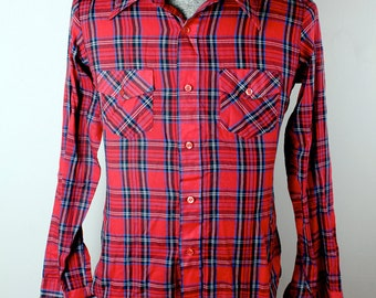 Vintage 1980s Sears Put On Shop Teen Male Plaid Dress Work Camp Shirt Size M