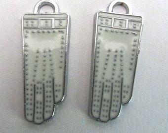 Set of two Enamel White Glove Pendants