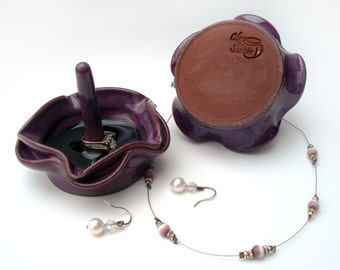 Purple star ring dish, Violet ring holder, Black melted glass jewelry catcher