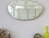 Vintage Art Deco Bevelled Edge Wall Mirror Cloud Shape